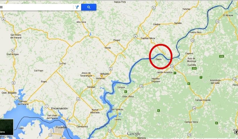 El círculo rojo señala la zona donde emplazarían el nuevo puente binacional.