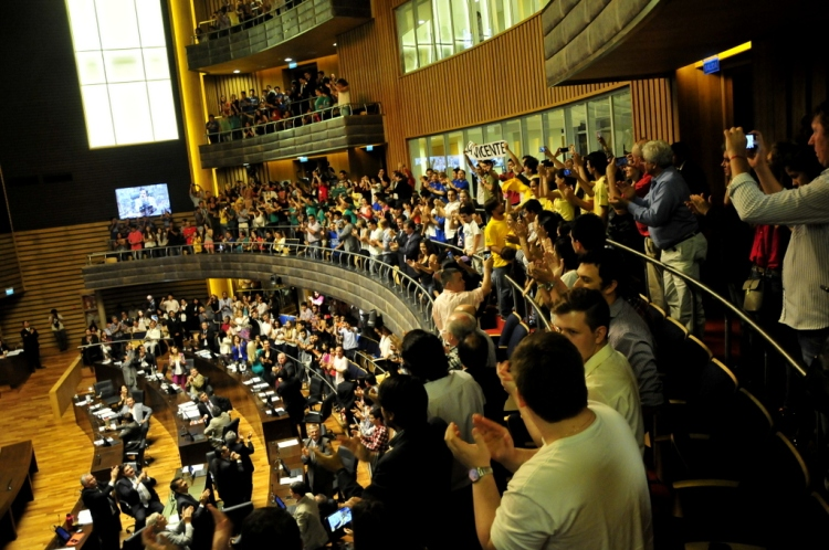 Los festejos coronaron la aprobación de la Ley. Boleto estudiantil gratuito para todos.